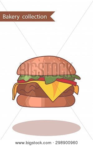 Bakery Collection. Colored Icon Burger. In Trendy Flat Style Isolated On White Background.