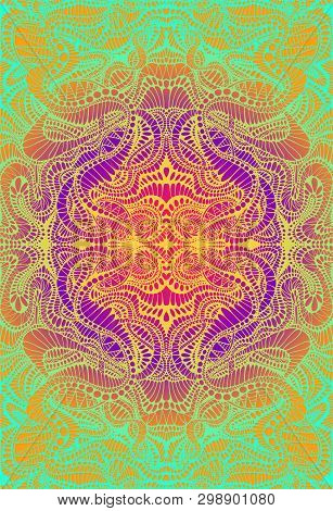 Psychedelic Trippy Colorful Fractal Mandala, Gradient Bright Color Outline, On Vibrant Gradient Colo