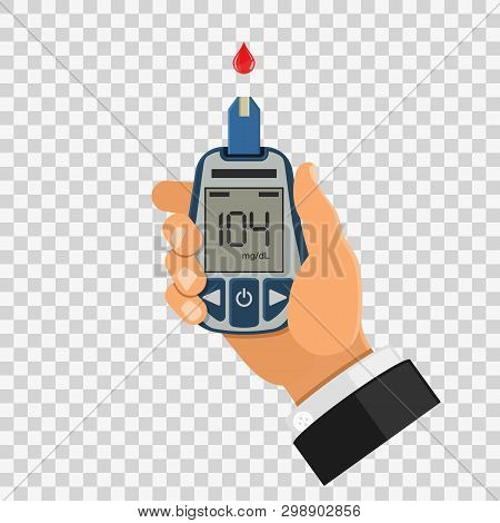Hand Holds Blood Glucose Meter. Blood Sugar Level Testing, Treatment, Monitoring And Diagnosis Of Di