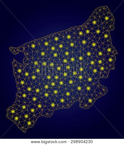 Yellow Mesh Vector West Pomeranian Voivodeship Map With Glare Effect On A Dark Blue Gradiented Backg
