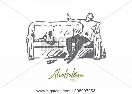 Alcoholism, Man, Drunk, Bottle, Sofa Concept. Hand Drawn Drunk Man With Bottle Sitting On Sofa Conce