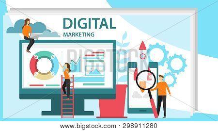 Digital Marketing Concept. Concept For Digital Marketing Agency. Specialists Working On Digital Mark
