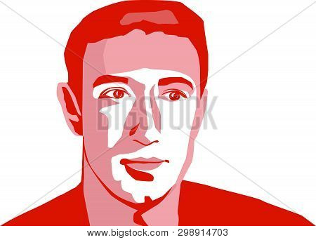 May, 2019: Facebook Ceo Mark Zuckerberg Vector Portrait