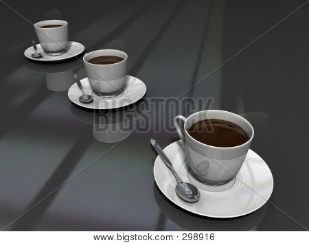 3 Coffee Cups Black