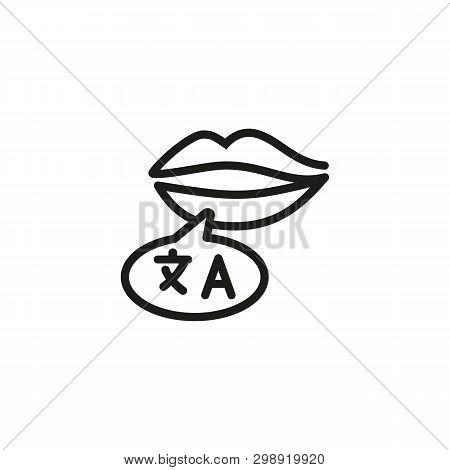 Language Speaker Line Icon. Lips With Speech Bubble, Bilingual, Interpreter. Foreign Language Concep