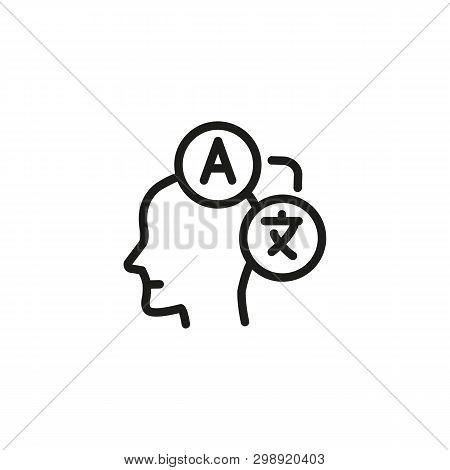 Translator Line Icon. Person, Interpreter, Bilingual. Foreign Language Concept. Vector Illustration