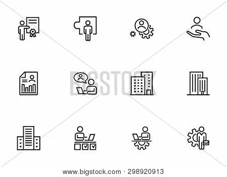 Office Management Icon Set. Line Icons Collection On White Background. Engineer, Entrepreneur, Build
