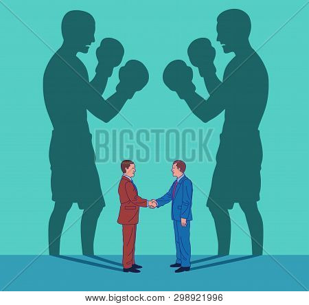 Two Young Business Men Shake Hands While Their Shadows Fight Like Boxers. Conceptual Illustration Re