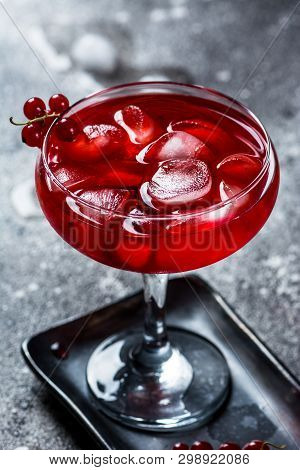 Red Cocktail With Ice Vapor. Cocktail With Smoke. Alcohol Drink, Vodka, Ice, Party, Dry Ice.