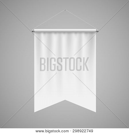 Gonfalon Fishtail Bottom Vertical White Flag Banner on a Gray Wall. Empty Template Illustration of Sport Flag Symbol Mockup poster