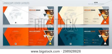 Brochure Landscape Template Layout, Cover Design Annual Report, Magazine, Flyer Or Booklet In A4 Wit