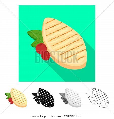 Vector Illustration Of Filet  And Chicken Sign. Collection Of Filet  And Hot Stock Symbol For Web.