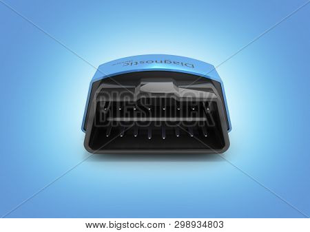 Obd2 Wireless Car Scanner Isolated On Blue Gradient Background 3d Illustration