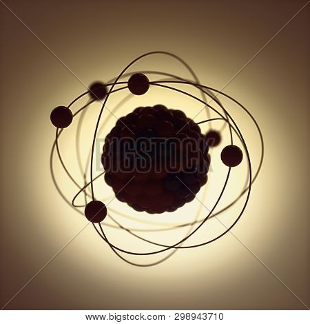3d Illustration. Nuclear Power, Nuclear Reaction Or Nuclear Energy, Generating Heat In A Concept Ima