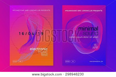 Edm Flyer. Dynamic Fluid Shape And Line. Cool Show Brochure Set. Neon Edm Flyer. Electro Trance Musi