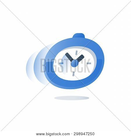 Time running, stopwatch in motion, deadline count down, urgent delivery period, fast service, quick survey, enrollment time limit, vector icon, flat design illustration poster