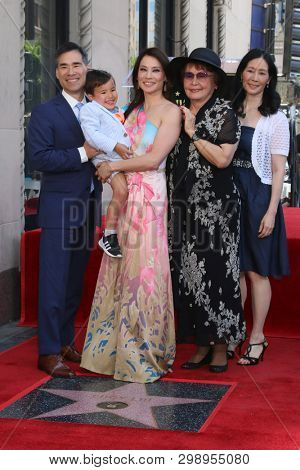 LOS ANGELES - MAY 1:  Lucy Liu, Family at the Lucy Liu Star Ceremony on the Hollywood Walk of Fame on May 1, 2019 in Los Angeles, CA