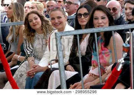 LOS ANGELES - MAY 1:  Drew Barrymore, Cameron Diaz, Demi Moore, Lucy Liu at the Lucy Liu Star Ceremony on the Hollywood Walk of Fame on May 1, 2019 in Los Angeles, CA