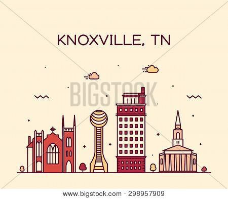 Knoxville Skyline Tennessee Usa Vector Line Style