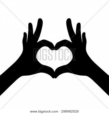 Black Girl Hands Making Heart. Flat Life Style Trend Idea Modern Charity Logotype Graphic Art Design