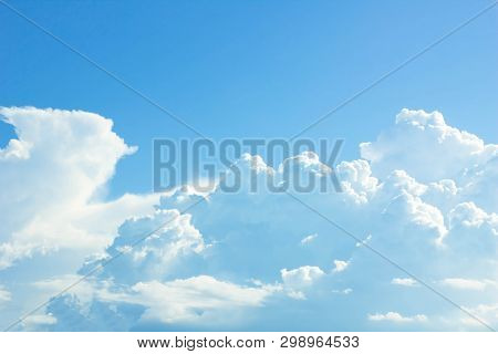 Sky Background Is Vast With White Clouds.