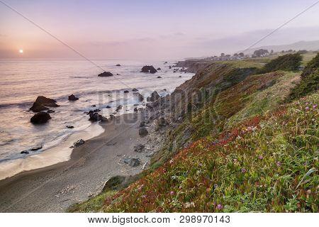 Sunset Over Arched Rock Beach Near Bodega Bay. Sonoma Coast, California, Usa.