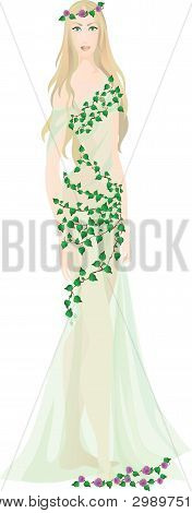 Beautiful Fairy Girl In Light Transparent Clothes Decorated With Leaves