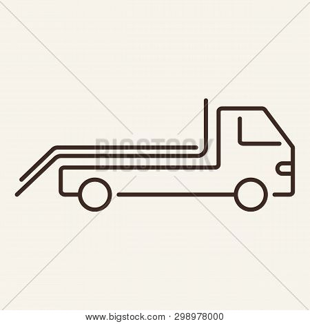 Tow Truck Line Icon. Side, Wrecker, Evacuation. Transport Concept. Vector Illustration Can Be Used F