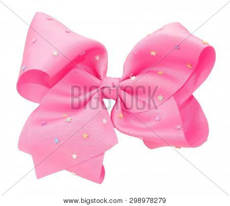 Pink hair bow tie with stars fancy accessory