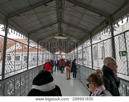 Lisbon, Portugal - March 17 2019 People At Top Level Of The Elevador De Santa Justa, 19th Century Li
