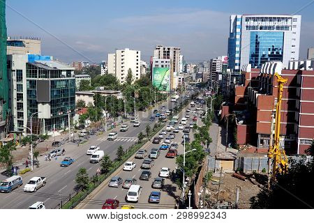 Addis Ababa, Ethiopia - 11 April 2019 : Busy Street In The Ethiopian Capital City Of Addis Ababa.