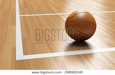 Basketball On The Corner Of Wooden Court Close Up With Light Reflection 3d Rendering