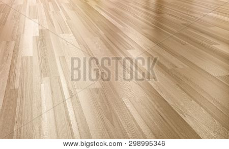 Close Up Of Wood Floor With Reflection 3d Perspective Rendering.paquet Floor
