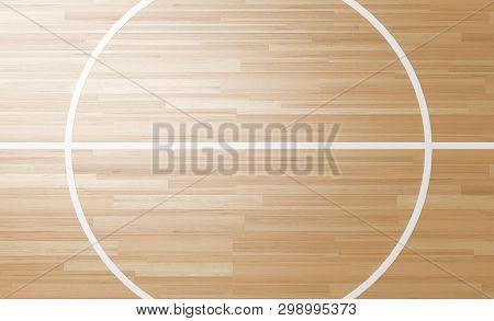 Center Of Wooden Basketball Court 3d Rendering