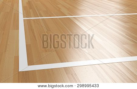 Corner Of Wooden Basketball Court With Light Reflection 3d Rendering