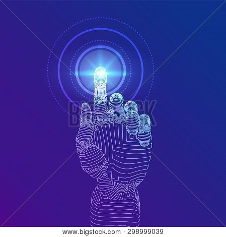 Robotic Hand Touching Digital Interface. Virtual Reality. Touch The Future Wireframe Illustration. C