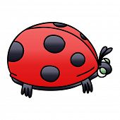 gradient shaded quirky cartoon ladybird poster