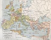 Old map of Barbarian kingdoms before Clovis I. By Paul Vidal de Lablache, Atlas Classique, Librerie Colin, Paris, 1894 poster