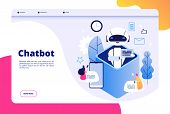 Chatbot concept. Chat with android woman man talking with mobile phone to ai application bots help human future technology vector page. Illustration of ai robot help, mobile bot and chatbot service poster