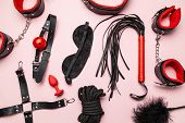 Set of erotic toys for BDSM. The game of sexual slavery with a whip, gag and leather blindfold. Intimate sex games poster