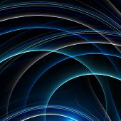 abstract frractal rendering of blue and green lines on black poster