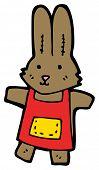 toy rabbit in apron cartoon poster