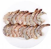 Plate with a Peeled Raw Tiger Prawns Isolated on White Background poster