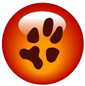red paw print web button or icon - illustration poster