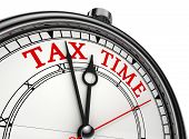 tax time concept clock closeup isolated on white background with red and black words poster