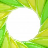 Circular abstract frame made of glossy green wavy elements poster
