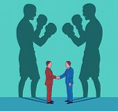 Two young business men shake hands while their shadows fight like boxers. Conceptual illustration representing duplicity poster