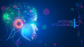Artificial Intelligence In Humanoid Head With Neural Network Thinks. Ai With Digital Brain Is Learni