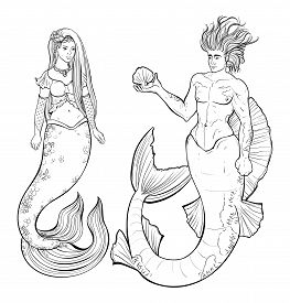 Couple Of Mermaid And Merman. Design For Print, Poster, Banner. Isolated Objects On White Background