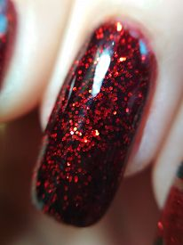 Woman Hand Finger Black And Red Manicure Gel Nail Polish Swatch Design Beauty Fashion Macro Photo